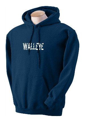 Distressed Sweatshirt Kids - Custom printed distressed style WALLEYE word on hooded pullover sweatshirt, youth XL 18-20, black