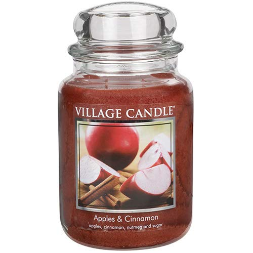 (Village Candle Apples & Cinnamon 26 oz Large Glass Jar Scented Candle, Red)