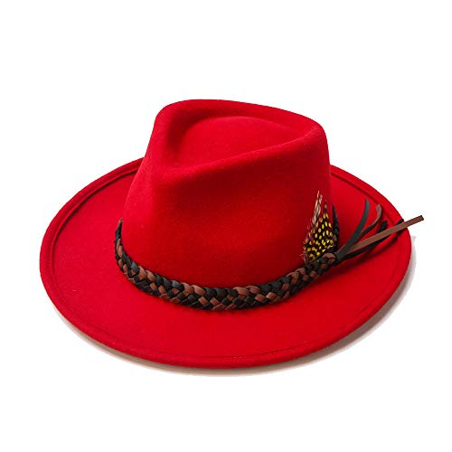 (Lawbuce Unisex Fedora Hat 100% Wool Felt Formal Hat Woven Belt Bucket Hat with Feather Decoration (Red))