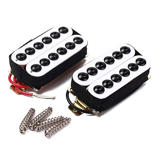 2 White Electric Guitar Double Coil Humbucker Pickup Bridge Neck Set Hexagonal