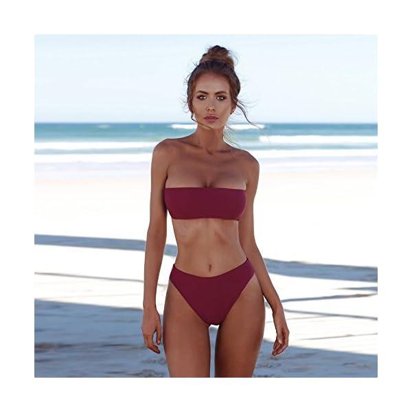 FRAUIT Bikini Vita Alta Brasiliana Bandeau Bikini Costume da Bagno Donna Due Pezzi Costumi Ragazza Spiaggia Push up… 2 spesavip