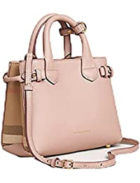 burberry bags outlet sales x9g3  Tote Bag Handbag Authentic Burberry The Baby Banner in Leather and House  Check Ink Tan Item 40140791