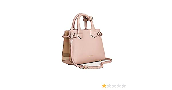Tote Bag Handbag Authentic Burberry The Baby Banner in Leather and House  Check Ink Tan Item 40140791  Handbags  Amazon.com ff523dc735631