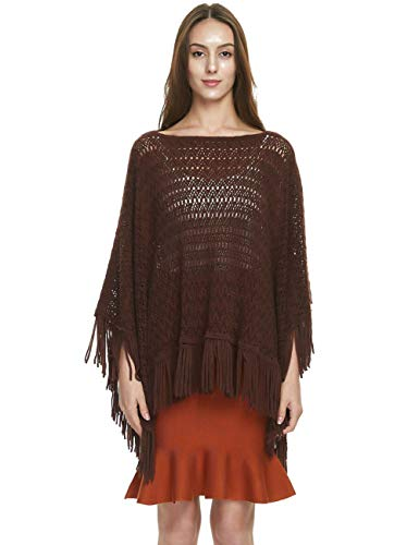 Ferand Women's Crochet Knit Spring Summer Poncho Sweater Tops with Fringes, One Size, Brown (Poncho Sweater Brown)