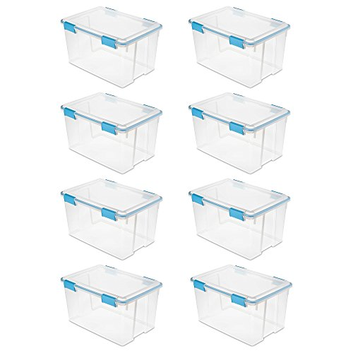 Sterilite 54 Quart Gasket Box in Clear with Blue Latches, 8 Pack | 19344304 by Sterilite