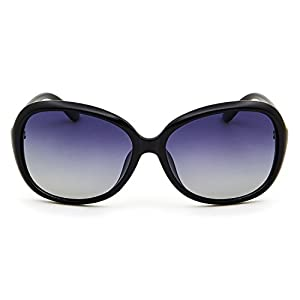 Leckirut Womens Oversized Polarized Sunglasses UV400 Protection Rhinestone Frame Sun Glasses for Driving Travelling black