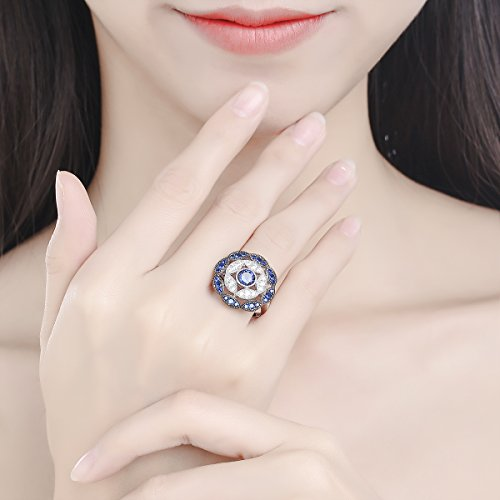Jrose 925 Sterling Silver Vintage Created Blue Sapphire Cluster Cocktail Ring for Women by jrose (Image #7)