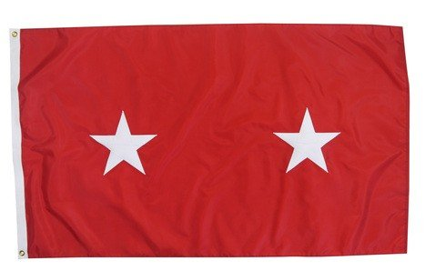 (U.S. Army 2-Star Major General Indoor Outdoor Appliqued Nylon Flag Grommets 3' X)