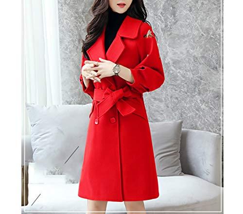 signore femminile rosso d'inverno lana di delle e Nizi di cotone lana di giacca coreano d'autunno ricamo Cappotto tratto caldo lunga lungo inverno lungo FwvqBOp