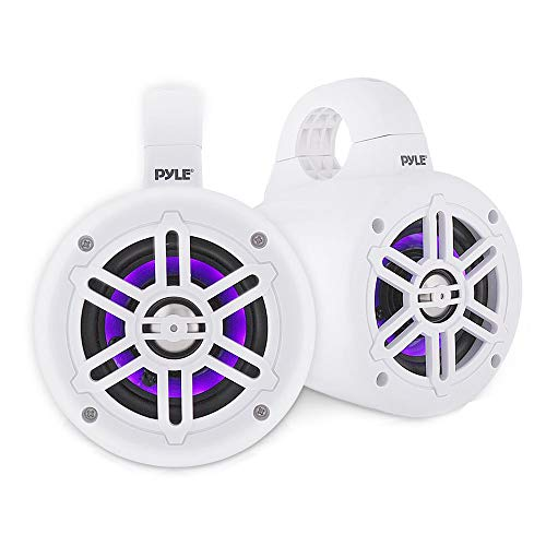 - Waterproof Marine Wakeboard Tower Speakers - 4 Inch Dual Subwoofer Speaker Set w/ 300 Max Power Output - Boat Audio System w/Built-in LED Lights - Mounting Clamps Included - Pyle PLMRLEWB46W (White)