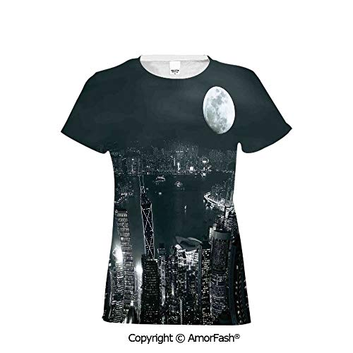 PUTIEN Women's Summer Casual T Shirt Dresses Short Sleeve,Modern,Aerial View of Hong Ko