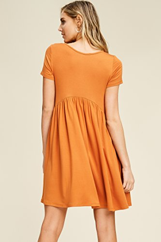 Comfy Empire Neck Dresses orange Sleeve with Mini Women's Burnt Scoop Annabelle Waist Pockets Short 5qTnY