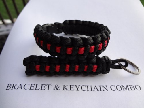 Firefighter Thin Red Line Paracord Survival Bracelet with Matching Keychain By Bostonred2010 (9″), Outdoor Stuffs