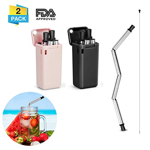 CHARMINER Collapsible Straw Reusable Stainless Steel, Folding Drinking Straws Food-Grade Portable Set Stainless Steel Case with Cleaning Brush Keychain Hole,for Household,Outdoor(2PCS)