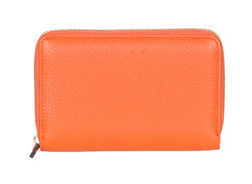 Gucci Orange Leather Zip Around Embossed Logo Wallet