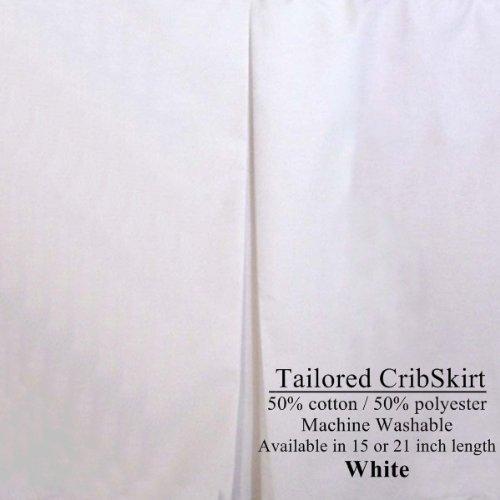(21 inch long Tailored White Cribskirt Crib Dust Ruffle)