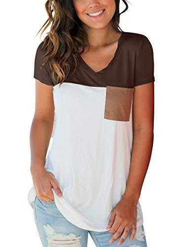 SAMPEEL Basic T Shirt Color Block Tee Top Blouse with Suede Pocket Leggings Brown -