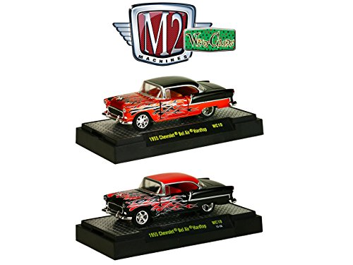 Wild Cards 1955 Chevrolet Bel Air Hardtop Candy Orange/Black Set of 2 WITH CASES 1/64 by M2 Machines 32500-WC10