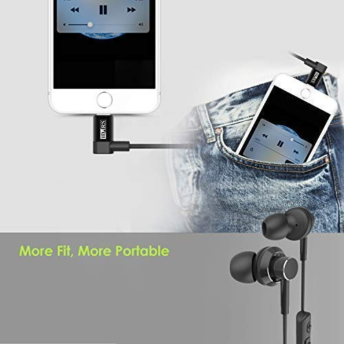 iDARS Wired Headphones Wireless MFi-Certified in-Ear Lightning Earphone Ergonomic Design Earbuds with Mic & Remote for iPhone 7/ 7Plus, iPhone 8/ 8Plus, iPhone X (L-Shape- Black)