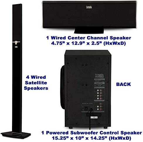 Acoustic Audio AAT1003 Bluetooth Tower 5.1 Home Theater Speaker System with 8″ Powered Subwoofer 41qVtIJurjL