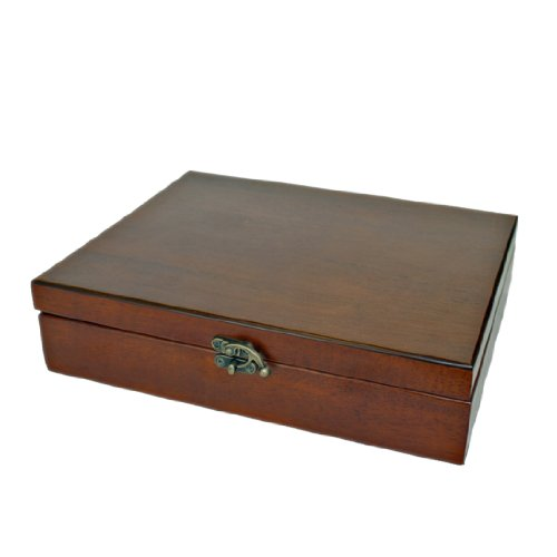 Old World Wooden Treasure Box with Brass Latch (Redwood Finish)