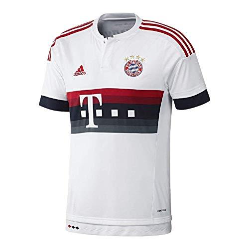 adidas FC Bayern Munich 2015/16 Away Soccer Jersey (White, Power Red, NT Navy)