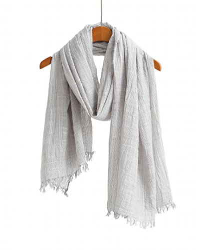 100% Cotton Scarf Shawl Super Soft Lightweight Scarves And Wraps For Men And Women. Unisex. (Grey Stripe)