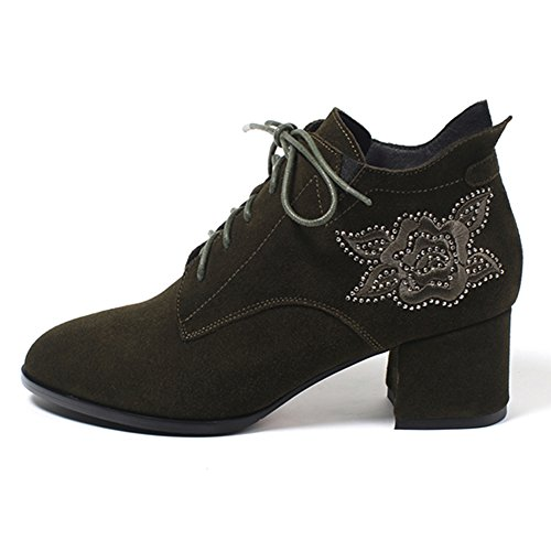 MINIVOG Womens Embroider Kid Seude Boot Lace-up Round Toe Booties Green A6vKGzi