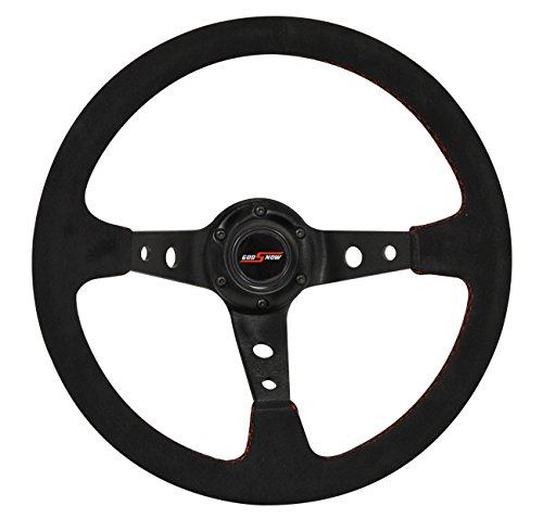 AJP Distributors 350mm Black Suede Steering Wheel (Godsnow, Red)