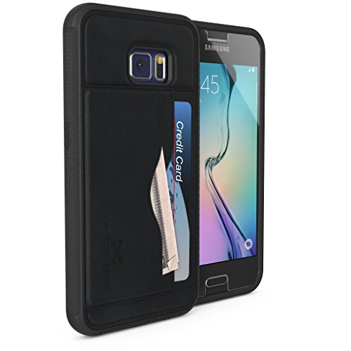 (Galaxy S6 Wallet Case, Ghostek Stash Series for Samsung Galaxy S6 Slim Hybrid Impact Card Case Cover with Tempered Glass Screen Protector | Premium Soft PU Leather | Rubberized Trim | Retail (Black))