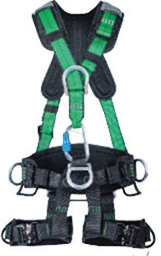 MSA (Mine Safety Appliances) 10150455 Large Green Gravity Full Body Suspension Harness, Quick Connect Leg Strap Buckle, Aluminum D-Ring Hardware/Carabineer, English, 15.34 fl. oz., Plastic, 1 x 1 x 1