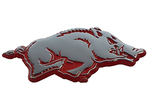 University of Arkansas METAL Auto Emblem with Red ()