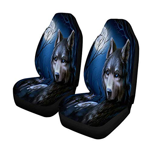 INTERESTPRINT Wolf in Forest Auto Seat Covers 2 pc, Universal fit for Vehicles, Sedan and Jeep