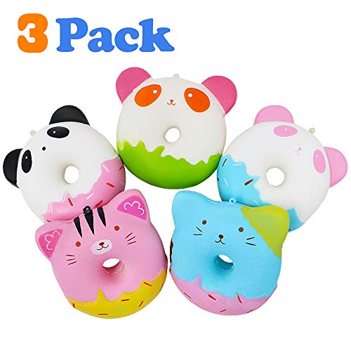 VCOSTORE 3 Pcs Squishy Panda Donut Pack, Slow Rising Jumbo Random Donut Set Soft and Scented Stress Relief for Kids Gift Party Favor Adults