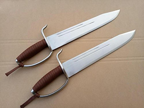 Wing Chun Bart Cham Dao,Yewen double knives,Stainless steel blade,Copper handguard (Brown rope)