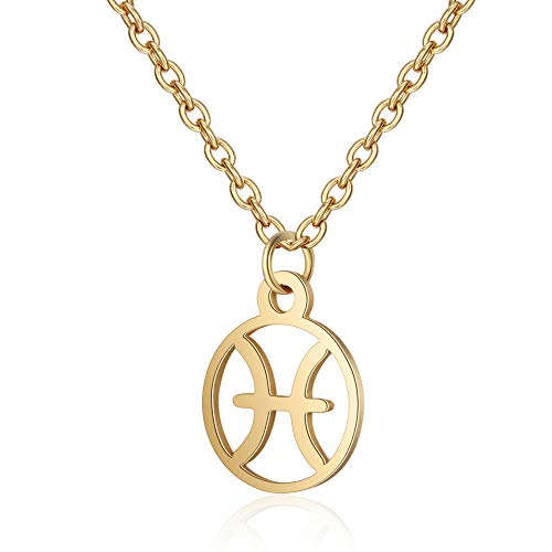 Funcok Women Charming Gold Plated Zodiac Handmade Pendant Pisces Necklace Jewelry Birthday Gifts