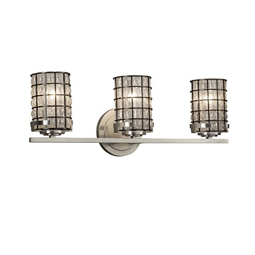 Wire Glass - Atlas 3-Light Bath Bar - Cylinder with Flat Rim Wire Cage and Blown Glass Shade in Grid with Clear Bubbles - Brushed Nickel Finish