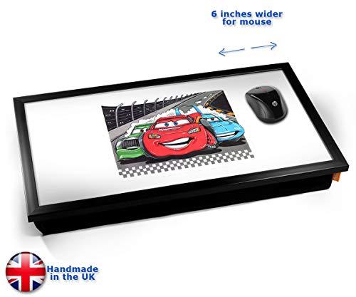 KICO Koolart Disney Cars Movie Film Car Illustration Caricature Cushioned Bean Bag Laptop Lap Tray Desk - Built-in EMF Shield (Electro Magnetic Field) - Black Frame