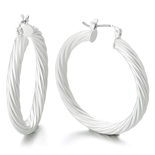 Unique White Statement Earrings Twisted Circle Huggie Hinged Hoop, Dress Party Event Prom ()