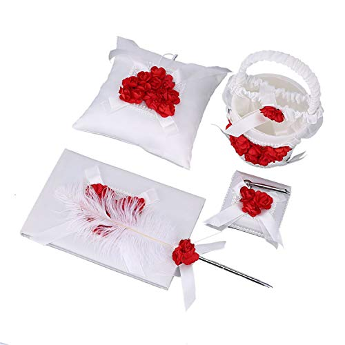 Lovescenario 5 Pcs/Set Party Festival Supplies Violet Satin Wedding Sign Pen Feather Book Baskets Ring Pillows Set Bride Accessories