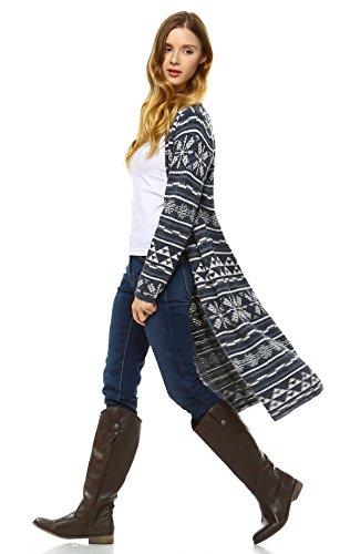 - Zoozie LA Women's Long Aztec Cardigan Tribal Sweater Holiday Isle Pattern Navy Gray S/M