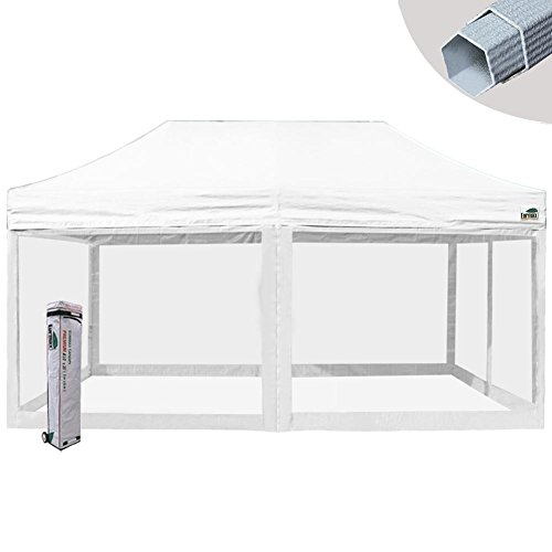 Eurmax Premium 10×20 Ez Pop up Tent Screen Room Commercial Canopy Portable Gazebo with 4 Removable Screen Mesh Walls and Roller Bag, White