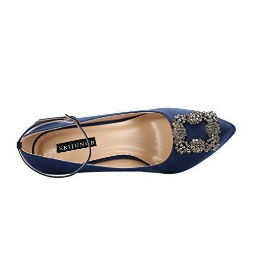 Prom Rhinestones Satin Brooch Strap Pumps Wedding Evening Women Ankle inches Shoes ERIJUNOR Satin Navy Bridal 3 Uwx8XCqng