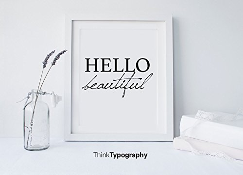 Hello Beautiful, Hello sign, typography, wall decor, mottos, art print, inspiration, quote, home decor, humor, wall art, yoga, scandinavian