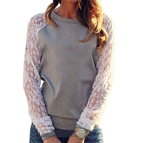 Shirts Manches Tops pissure Fr Sweat Pullover Femmes Printemps Shirts Col ulein Longues Dentelle et Automne Hauts Fashion Casual T Fox Blouse Jumpers Gris Rond nqv6nAwP