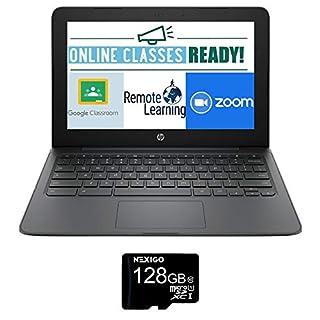 2021 Newest HP Chromebook 11.6 Inch Laptop, Intel Celeron N3350 up to 2.4 GHz, 4GB LPDDR2 RAM, 32GB eMMC, WiFi, Bluetooth, Webcam, Chrome OS + NexiGo 128GB MicroSD Card Bundle