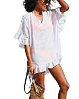KingsCat Fashion V-Neck Cotton Beach Top / Swimsuit Cover Up , White