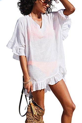 Beaded Cotton Top (KingsCat Fashion V-Neck Cotton Beach Top/Swimsuit Cover up, White)