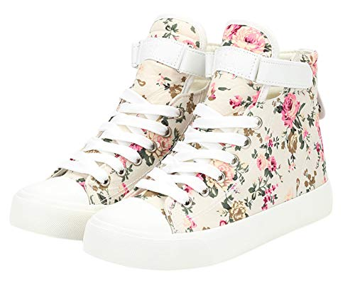 ACE SHOCK Women's Casual High Top Flat Canvas Shoes Fashion Sneakers (7, Floral Beige)]()