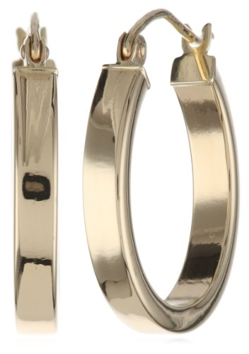 14k Yellow Gold High Polish 3mm Flat Hoop Earrings (Yellow Polish 14k Gold)